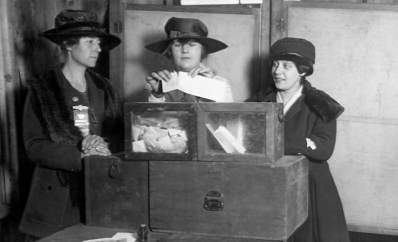 Political change in action: photo of women voting
