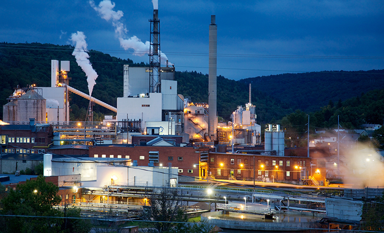 Johnsonburg pulp and paper mill at night