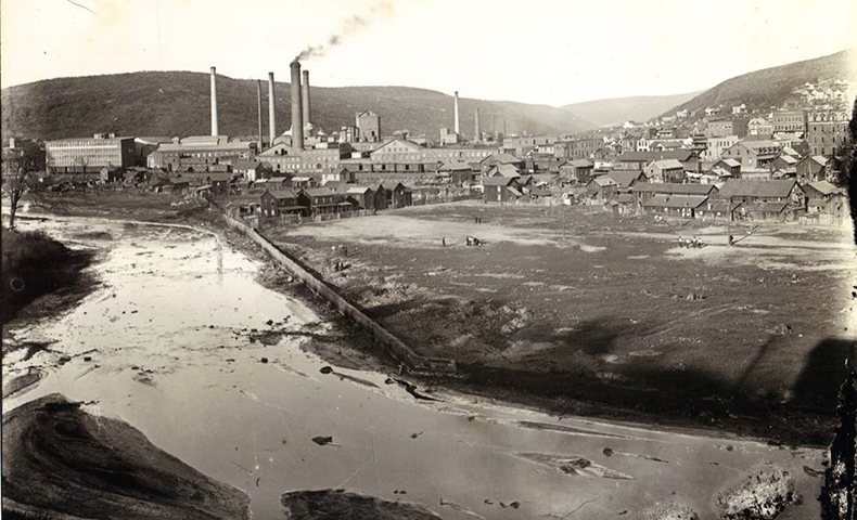 Johnsonburg pulp and paper mill in an old photo from the late 1800s