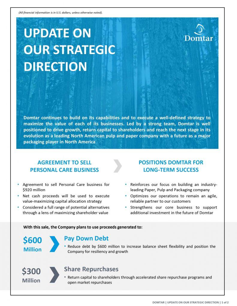 strategic direction Domtar sale